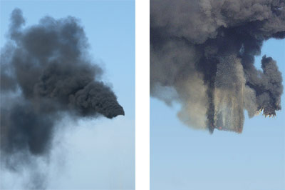 Photos pairing the smoke produced in found images of manufacturing plant smokestacks and