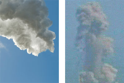 Photos pairing the smoke produced in found images of manufacturing plant smokestacks and \'post-democracy\' conflict or disaster imagery. (here: Japan nuclear reactors after earthquake)
